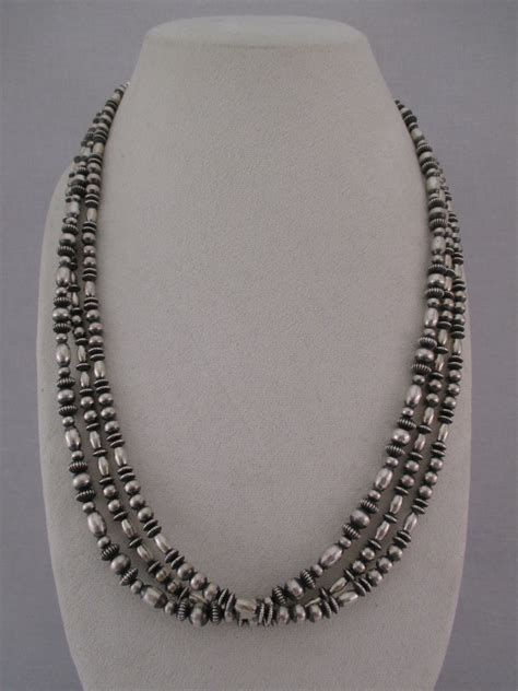 multi shaped sterling silver bead necklace navajo jewelry