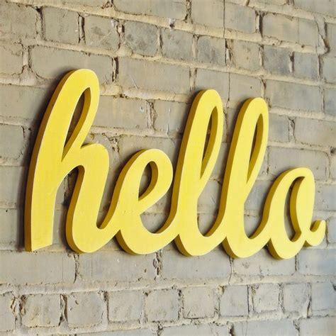 Hello Yellow by Xl Hello Script Handmade Wood Sign Wall Decoration For