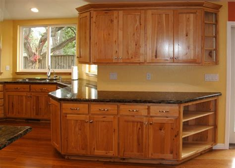 rustic hickory cabinets kitchen new lighting rustic