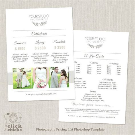 Wedding Photography Pricing List Template Photography Photography Pricing Template