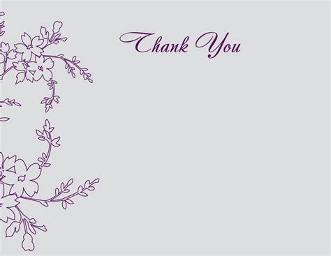 thank you card template free wedding floral wedding thank you card