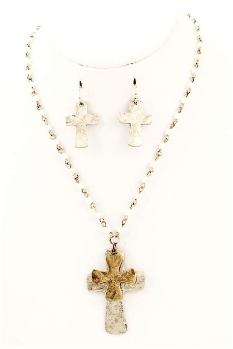 bead cross necklace beaded metal cross pendant necklace set necklaces