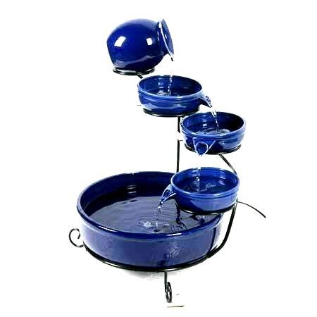 Solar Powered Water Cascade Look No Wires by Solar Powered Blue Terracotta Cascade With Led Light