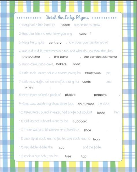Printable Baby Shower With Answers