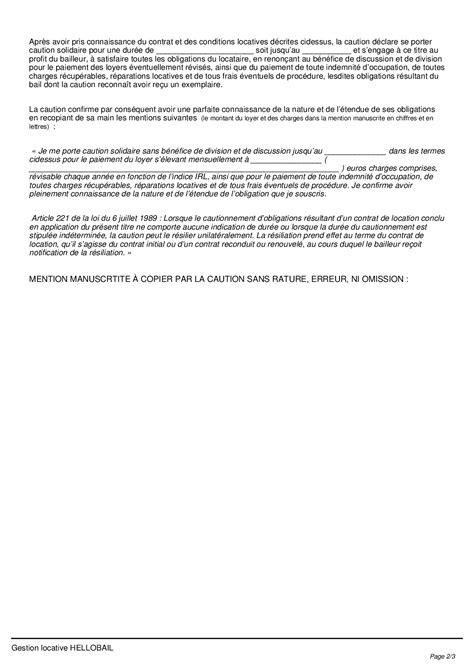 Modele Acte De Caution Solidaire