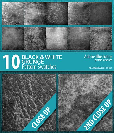 change pattern swatch color illustrator 10 black and white grunge texture swatches vector by