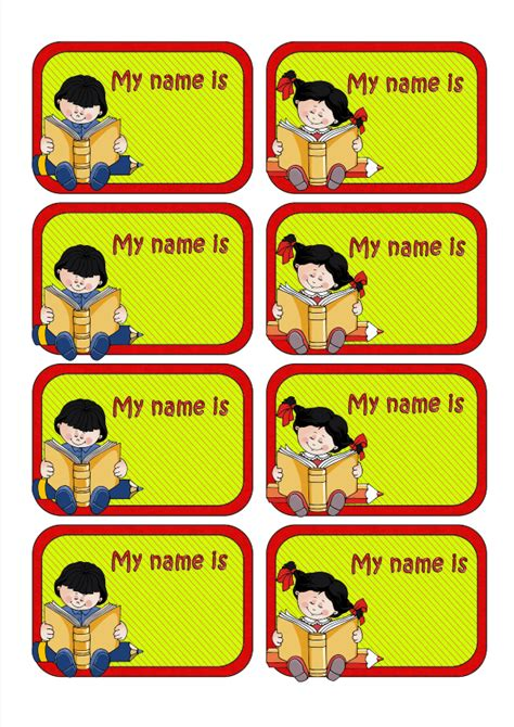 english worksheets name tags girls back to school name labels for kids