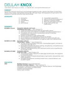 gymnastics instructor resume sle my resume