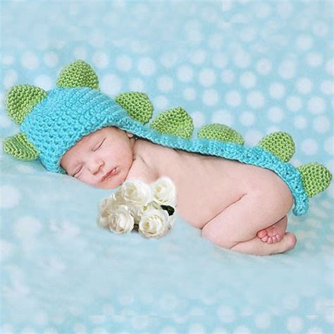 knitted baby props baby infant dinosaur costume crochet knit photo prop