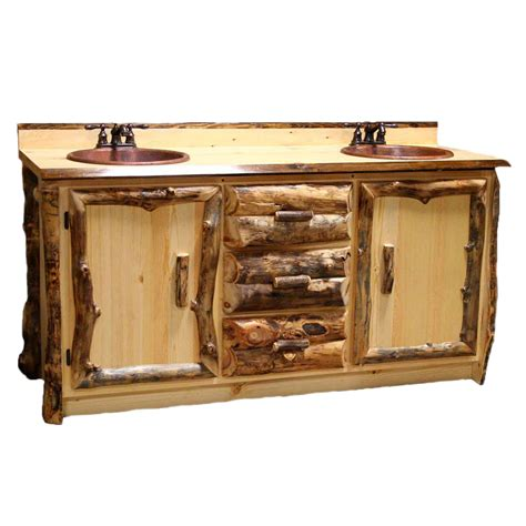 Aspen Vanity by Aspen Log Furniture Aspen Vanity With Copper Sinks