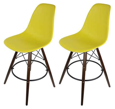 eames style bar stool yellow 2 x yellow eames style dsw bar stool with walnut