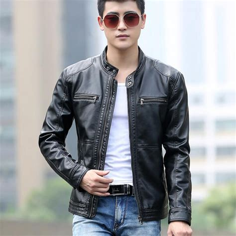 mens casual motorcycle leather jacket men design stand collar coat male casual
