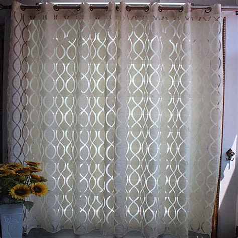 white geometric curtains home window curtain for living room jacquard sheer panel