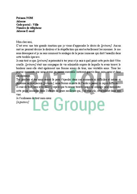 Exemple De Lettre Pour Un Ami Lettre De Condol 233 Ances 224 Un Ami Qui Vient De Perdre Sa Femme Pratique Fr