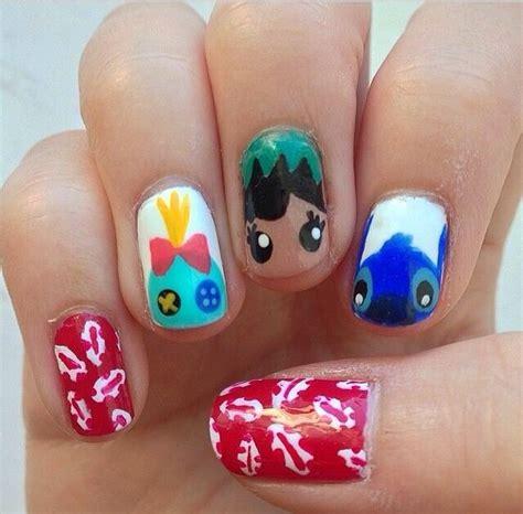 Disney Pattern Nails | lilo and stitch nail art disney nails pinterest