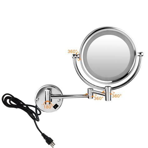 wall mounted lighted magnifying bathroom mirror 8 5inch led lighted makeup wall mount 7x magnifying