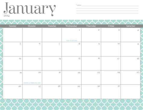 14 free 2014 printable monthly calendars thesuburbanmom