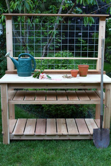 cedar potting bench dream garden woodworks