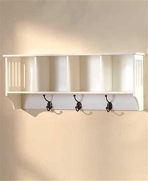 Hallway Shelf And Hooks by White Or Black Hallway Entryway Storage Wall Shelf W