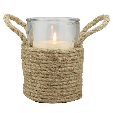 rope candle holders for summer stonebriar collection 6 in natural rope wrapped pillar