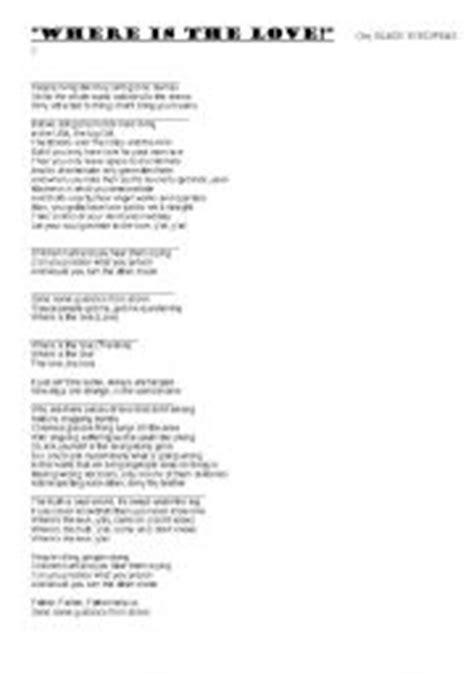 black eyed peas where is the love lyrics english teaching worksheets love