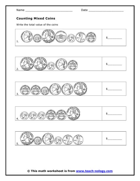 Coin Values Worksheet by Counting Mixed Coins