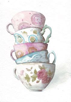 Teaset Orchid tea cup painting pencil and in color tea cup