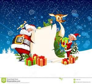 christmas card with santa claus reindeer elves stock