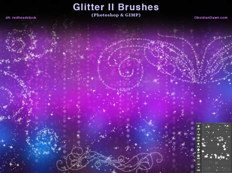 glitter ii photoshop and gimp brushes by redheadstock on