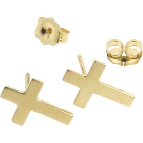 gold cross earring studs tiny cross stud earrings in 14k