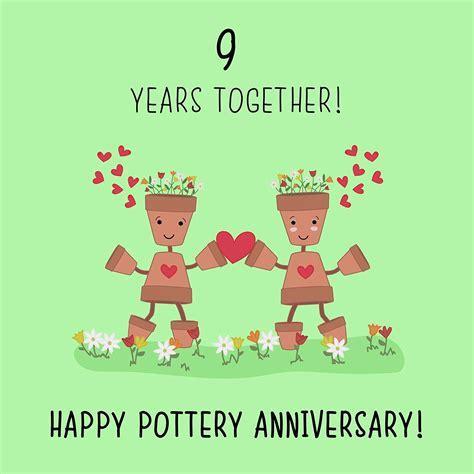 9th Wedding Anniversary Card   Pottery Anniversary