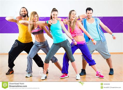 zumba tutorial online dancer at zumba fitness training in dance studio stock