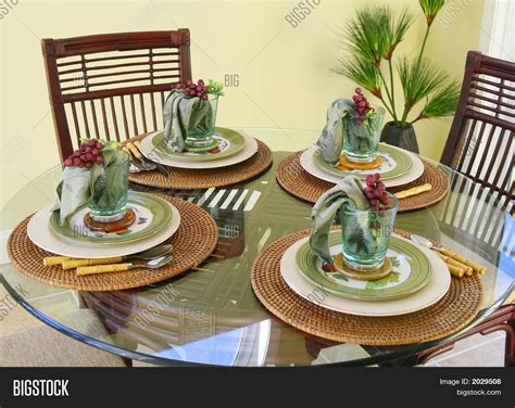 table setting for lunch table setting lunch for 4 stock photo stock images
