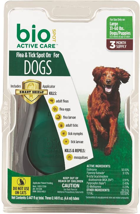 flea and tick meds for dogs bio spot active care flea tick spot on for dogs 31 60 lbs 3 treatments chewy