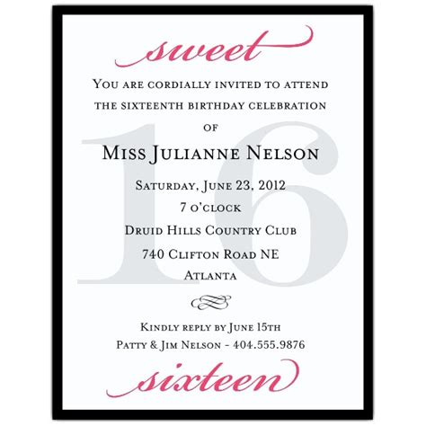 petite classic black and hot pink sweet 16 invitations