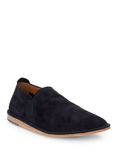 vince nico suede slip on shoes in blue for lyst