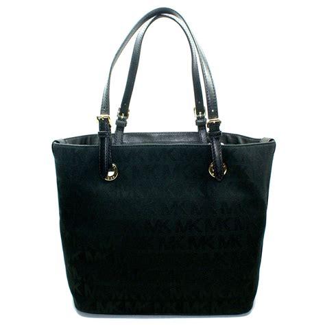 michael kors jet set mk signature jacquard grab bag black