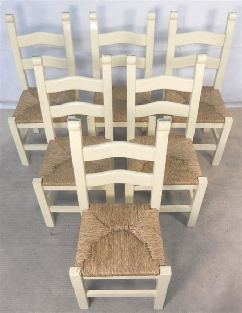 Painted Wood Dining Chairs Set Of Six Painted Wood Ladderback Seat Kitchen Dining Chairs Sold