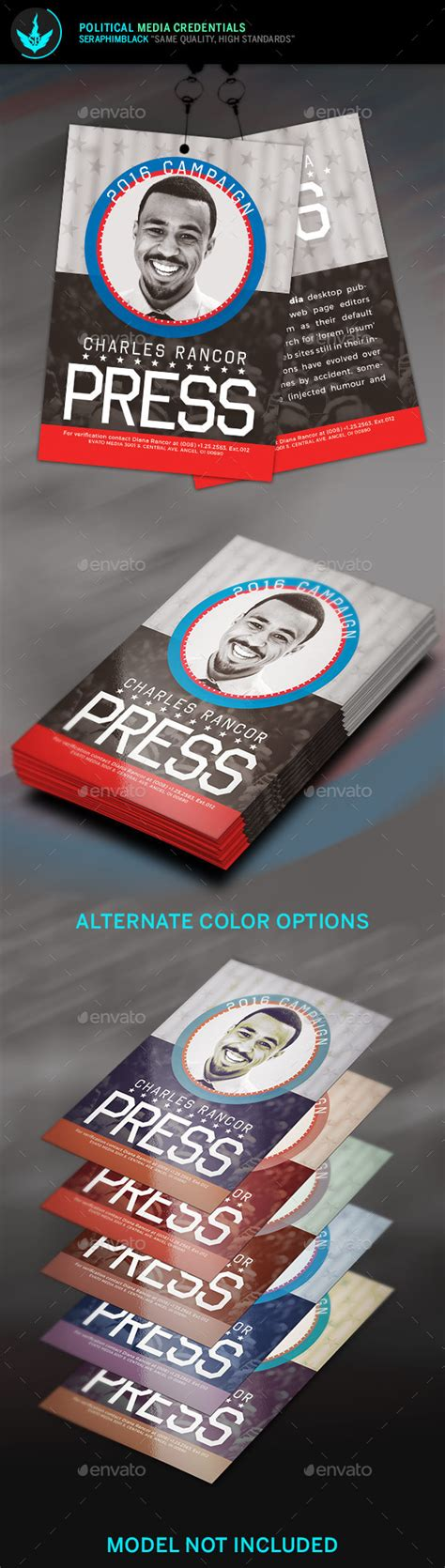 Political Media Credentials Template By Seraphimblack Graphicriver Media Pass Template Photoshop