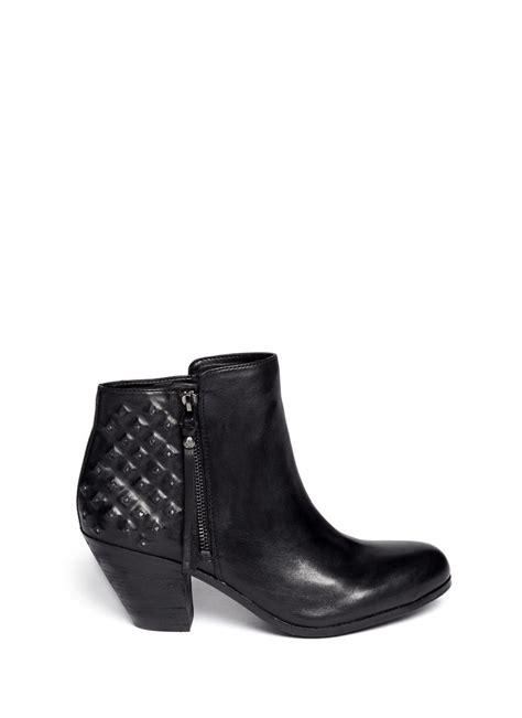 sam edelman lucille studded leather boots in black lyst
