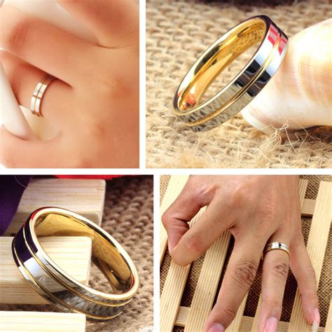 Two Tone Gold Wedding Band - two tone tungsten wedding bands set for and