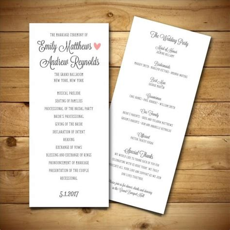 Printable Wedding Program Template Dark Grey Pink White Instant Download Editable Ms Word Document Wedding Program Template
