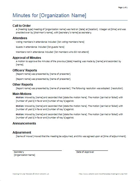 minutes for meetings template meeting minutes templates for word