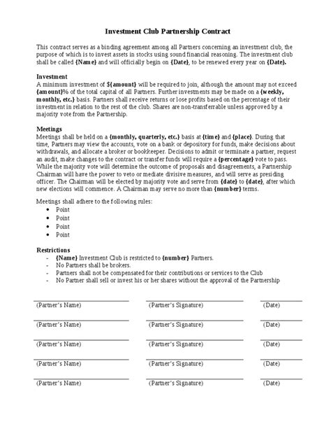 project partnership agreement template investment contract template pdf excel word get