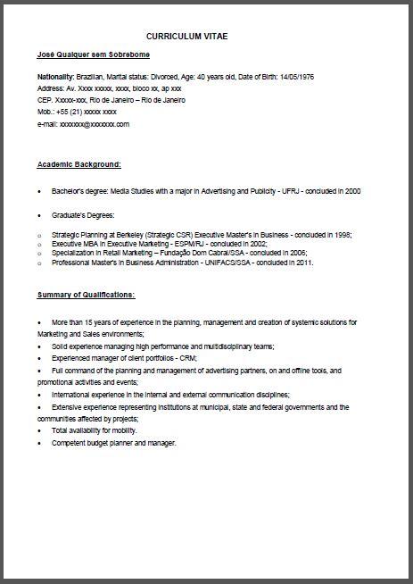 Modelo Curriculum Gerente General Curr 237 Culo Modelo Em Ingl 234 S Gerente De Marketing Para Ingl 234 S Ler