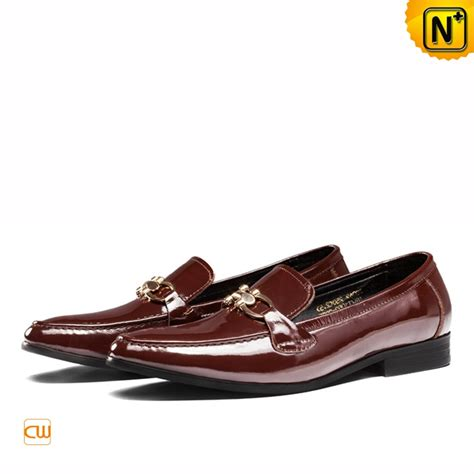 dress shoe loafers mens patent leather dress loafers shoes brown cw763316