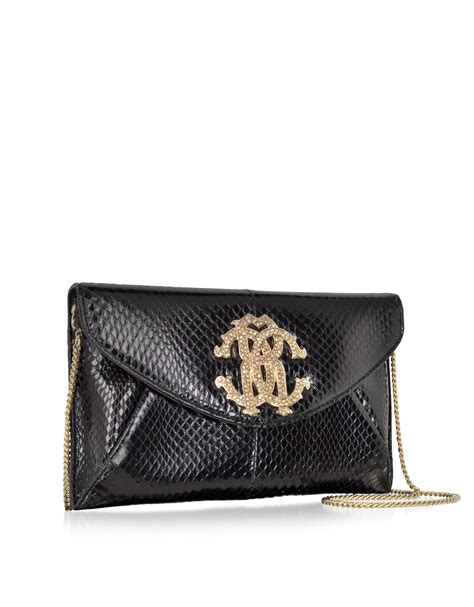Roberto Cavallis Plain Patent Leather Clutch by Roberto Cavalli Black Ayers Leather Rc Clutch In Black Lyst
