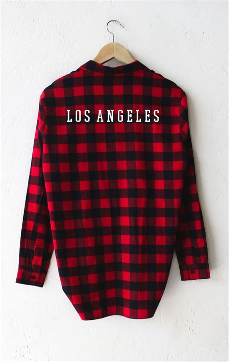 los angeles oversized plaid flannel shirt nyct clothing