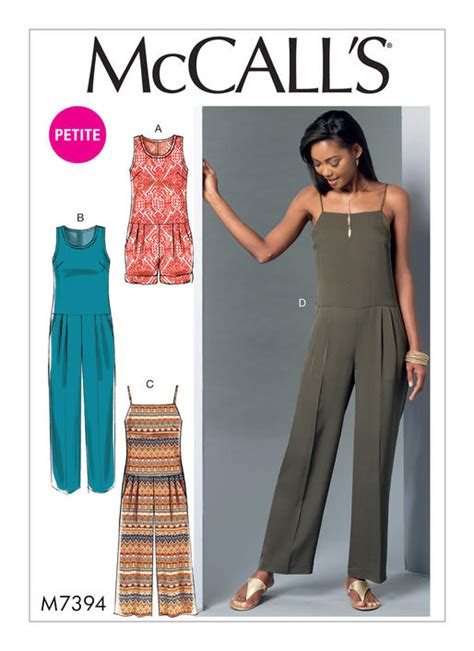 jumpsuit pattern mccalls mccall s 7394 misses miss petite pleated drop waist