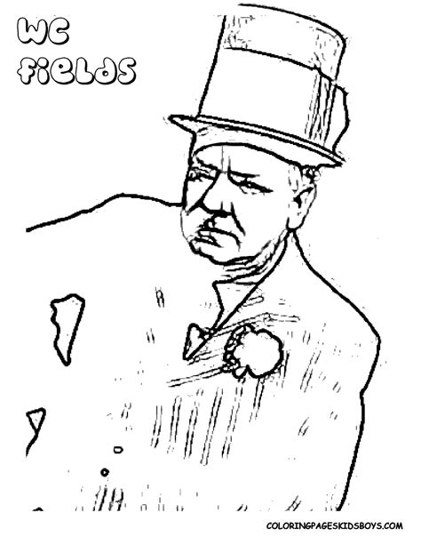 W C Fields Sketches by Coloring Page Brando Bogart Elvis Heston